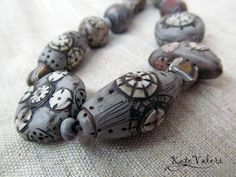 Сarved polymer clay bead necklace |by Katerina Brazhkina