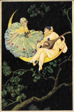 """Pierrot and Pierrette - the French versions of Harlequin and Columbine.  They were likable, clownlike figures in a pantheon of other characters known in Italy as """"Comedia Del Arte"""". They had multiple origins, not the least being the Court Jesters of medieval & Renaissance Europe."""