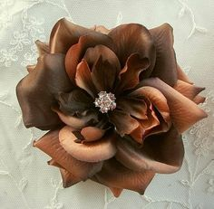 8ef0ed5e2e3 5 inch Brown Bridal Millinery Rose with Silk Organza Leaf for Hat Corsage  Pin Hair Accessory