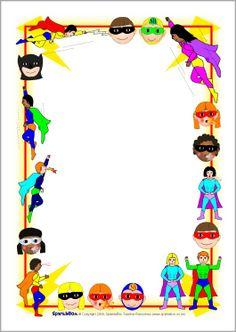 FREE superhero editable border paper...Superhero A4 page borders (SB2196) - SparkleBox