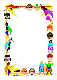 FREE superhero editable border paper...Superhero A4 page borders (SB2196) - SparkleBox