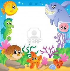 Frame with underwater animals 2 - vector illustration  Stock Photo