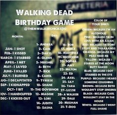 The Walking Dead birthday game - I shot Carl because Carl wouldn't stay in the house
