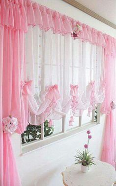 Prodigious Tips: Shabby Chic Bathroom On A Budget shabby chic painting ideas.Shabby Chic Home Office shabby chic blue stools. Pink Curtains, Shabby Chic Curtains, Home Curtains, Shabby Chic Bedrooms, Colorful Curtains, Shabby Chic Homes, Shabby Chic Decor, Window Curtains, Curtains Living