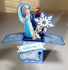 Card in a box: frozen, disney, elsa, anna, olaf