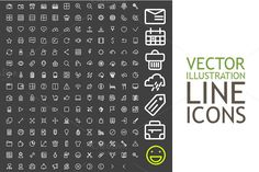 Line Icons For Applications And Web by Sabelskaya on @creativemarket