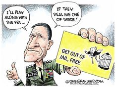 Dave Granlund - Politicalcartoons.com - Flynn and immunity COLOR - English - testimony, interview, questioning, probe, russia ties, lies, meetings, payments, ltg, general, mike, trump advisor, Russian, putin, deal, investigation, election, 2016, secret, fbi, cia, intel, committee
