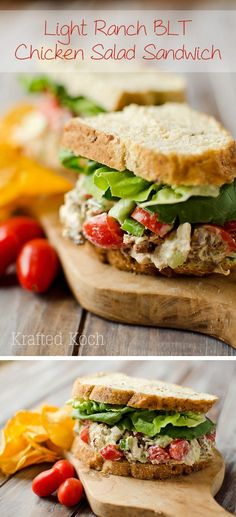 Light Ranch BLT Chicken Salad Sandwich - Krafted Koch - A light and easy lunch idea that is healthy and loaded with flavor!