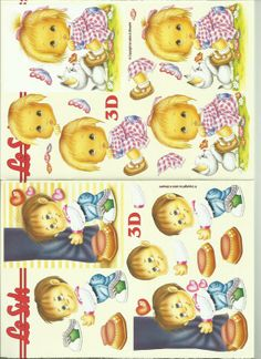 children Foto 3d, 3d Sheets, 3d Cards, Cute Kids, Free Printables, 3 D, Pikachu, Projects To Try, Teddy Bear