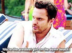 You're the prettiest girl on the beach_New Girl Season 3 Premiere Nick Jess Make Smile, Just Smile, New Girl Season 3, New Girl Nick And Jess, New Girl Quotes, Jake Johnson, Zooey Deschanel, Me Tv, Best Shows Ever