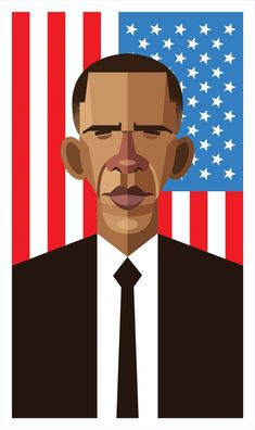 """'The President': Barack Obama"", - Digital Illustration by Daniel Nyari (b. Romanian/New York). Caricatures, Character Illustration, Digital Illustration, Obama Art, Gfx Design, African American Art, American Flag, Vector Portrait, Vector Art"