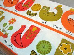 Birdies! vintage fabric