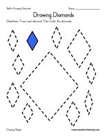 Worksheets Drawing Rhombus Worksheet colors shape and circles on pinterest drawing diamonds worksheet trace each diamond then color the information draw