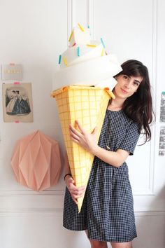 Visit the Parisian apartment of graphic designer Lucille Michieli Ice Cream Party, Fun Crafts, Diy And Crafts, Crafts For Kids, Paper Crafts, Carton Invitation, Ideas Para Fiestas, Gelato, Diy Design