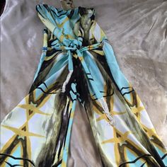 Romona La Rue, Silk Tube Tassel Tie Jumpsuit. Elastic Tube Top, Draw String Waste, One Piece Jumpsuit. Tie Ankle. Features Abstract Sea Life Print Inspired By Miami. (My Mistake I Didn't Try On & Tight In My Bust. 36D)  Love This!! Ramona La Rue Other