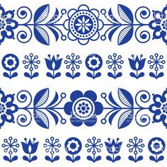 Folk art seamless vector pattern with flowers, navy blue floral repetitive design - Scandinavian style royalty-free folk art seamless vector pattern with flowe Folk Art Flowers, Flower Art, Vector Pattern, Pattern Art, Marine Style, Family Tree Art, Fleur Design, Scandinavian Folk Art, Scandinavian Embroidery