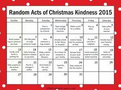 Printable random acts of kindness advent calendar.  <3