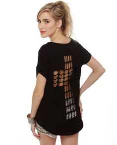 Awesome Cutout Top - Black Top - Black Tee - $31.00