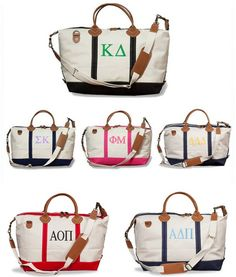 ❉❉ super sweet BAG spotlight ❉❉ I ADORE these classy sorority WEEKENDER BAGS! Perfect for your next sisterhood retreat, or visiting home for the weekend. These amazing totes are made of sturdy cotton canvas with leather accents & handle. So greek chic from Sassy Sorority!!  http://www.sassysorority.com