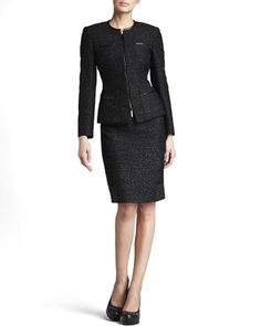 Metallic Tweed Suit by Albert Nipon at Neiman Marcus.  $275.  The jacket can be worn with other outfits -- reads moto jacket.