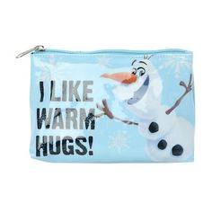 Disney Frozen Olaf Warm Hugs Cosmetic Bag Hot Topic (3.88 ILS) ❤ liked on Polyvore featuring beauty products, beauty accessories, bags & cases, cosmetic purse, cosmetic bag, dopp bag, dop kit and toiletry bag