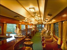 The observation car/bar on the most luxurious train in the world, Rovos Rail. Trips: 2002 Pretoria to Cape Town & 2005 Cape Town to Pretoria