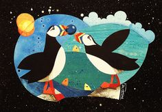 Blueberry Puffins, illustration by Daniela Faber, collage/acrylics, for bird lovers and muffin munchers + arctic, Iceland, Greenland, Norway, Scotland, Ireland + Please, also have a look at my other pins/work, thank you!