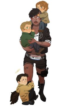 I've pinned this before, but I just adore it. I can just see Baby as this badass chick carrying her boys in safety.