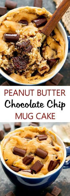 Peanut Butter Chocolate Chip Mug Cake. Single serving, fluffy, eggless peanut butter cake mixed with gooey melted chocolate. Cooks in the microwave and is ready from start to finish in about 5 minutes.
