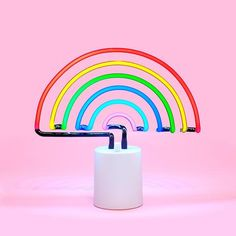 if you're looking for something to brighten up your room, we've got just the thing…a neon light shaped like a rainbow!!! what could be brighter? literally nothing. but don't worry, this lamp from sunn