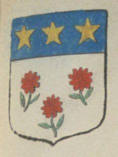 André DE NESDE, docteur en médecine. Porte : d'argent, à trois fleurs de gueules, tigées et feuillées de sinople, et un chef d'azur, chargé de trois étoiles d'or | N° 355