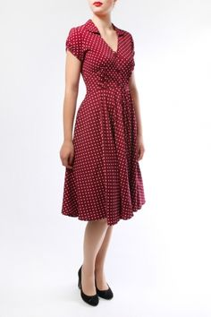 The Raspberry Harriet Polka Dot Dress by Hell Bunny - Retro Dresses - Retro Clothing