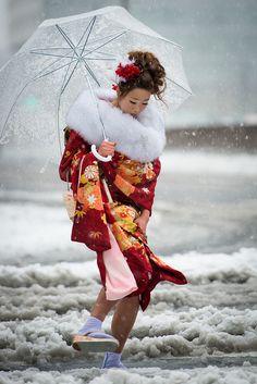 Furisode Kimono- Snow Day