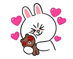 These animated stickers featuring Brown and Cony's love are extremely cute and lovable. Brown and Cony have been reduced in size and increased in cuteness.
