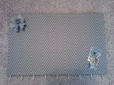 Mother's Day gift Corkboard Necklace Holder on Etsy, $15.00 #gray #chevron #jewelry #necklace # holder #diy #etsy