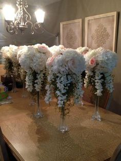 Don't spend a fortune on decorations for your big day, check out these dollar store wedding ideas that will save you a ton of money. White Centerpiece, Tall Wedding Centerpieces, Floral Centerpieces, Floral Arrangements, Wedding Decorations, Table Centerpieces, Creative Wedding Favors, Wedding Favors Cheap, Wedding Gifts