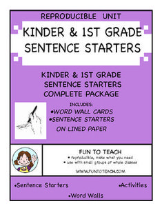Kinder & 1st Grade Sentence Starters - a 64-page packet packed with 42 great sentence starters that will get your student writing. Students love to write about their lives and these sentence starters help them begin. We provide everything your students need to practice writing with Kinder & 1st Grade Sentence Starters!  Great for ELL, ELD, ESL and writing! $