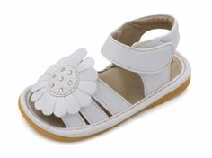 Squeaky Shoes | White Flower Toddler Girl Sandals