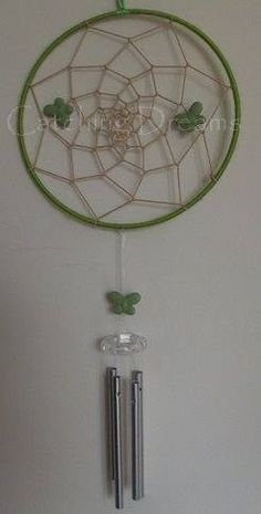 "6"" Green and Neutral Dream Catcher Windchime with Green Butterflies. £10.00. P+P £2.80. Other colours available"