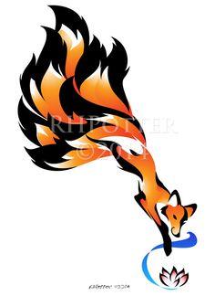 Kitsune Bi by RHPotter on DeviantArt Deer Tattoo, Fox Tattoos, Tree Tattoos, Tattoo Ink, Hand Tattoos, Sleeve Tattoos, Fantasy Creatures, Mythical Creatures, Rabe Tattoo
