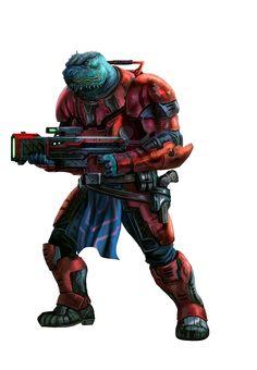 Vrokilayo Hatchbuster, Vesk Soldier - Starfinder RPG (Dead Suns 1 Art)