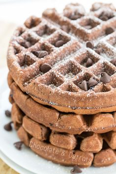 Whole Wheat Chocolate Banana Waffles | chocolateandcarrots.com