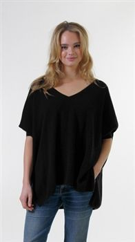 Minnie Rose Cashmere Pow Wow Sweater in Black