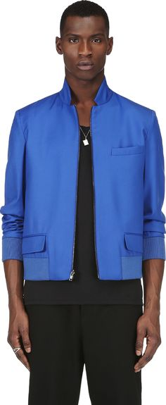 Maison Martin Margiela - Blue Wool Reversible Jacket | SSENSE $1225.00
