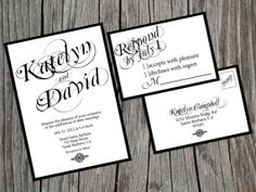 Printable Print Your Own Wedding Invitation Suite Black and White Traditional and Modern