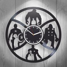 Handmade Vinyl Clock Wall Decor Home Decor The Avengers Gift Idea Marvel Comics