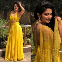 Sunshine yellow Choli Designs, Lehenga Designs, Blouse Designs, Indian Designer Outfits, Designer Dresses, Mehendi Outfits, Yellow Lehenga, Indian Wedding Outfits, Indian Outfits
