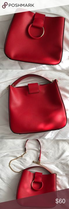 Super cute red Zara purse❤️ I love this bag! It's big and super stylish. Just trying to resize my bag collection. This is a steal! Zara Bags