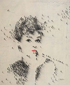 so cool.. Portrait of Audrey Hepburn made of of people