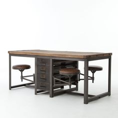 """Inspired by a beautifully functional machine shop """"""""partner"""""""" desk. Industrial style and modern functionality are reflected in our Rupert Industrial Architect Work Table Desk. This work table features Furniture Projects, Diy Furniture, Furniture Design, Office Furniture, Furniture Stores, Furniture Online, Furniture Removal, Furniture Outlet, Furniture Cleaning"""